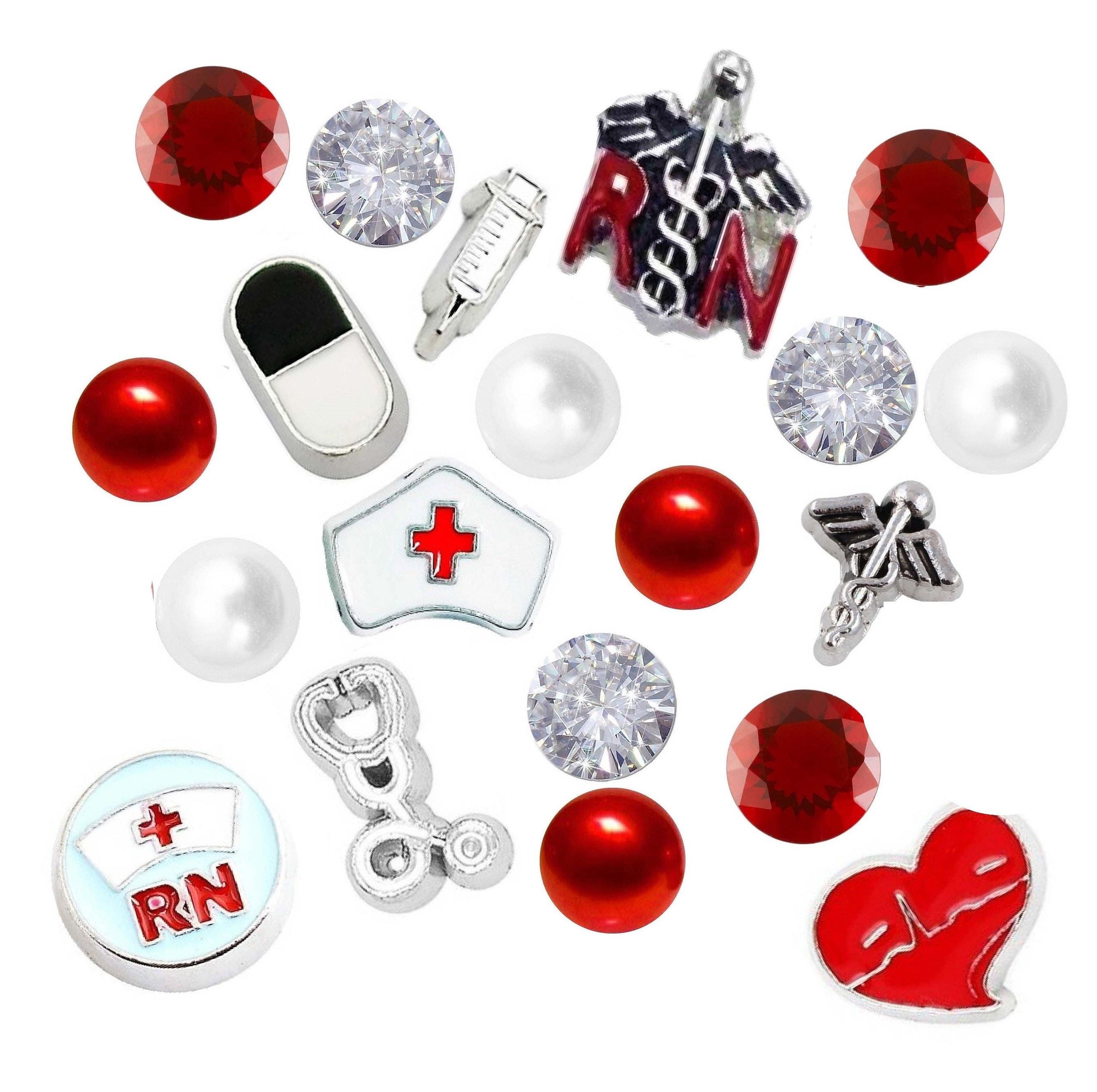 a9582716813 Nurse Cap Medical Symbol RN Caduceus Floating Charms 6   Etsy