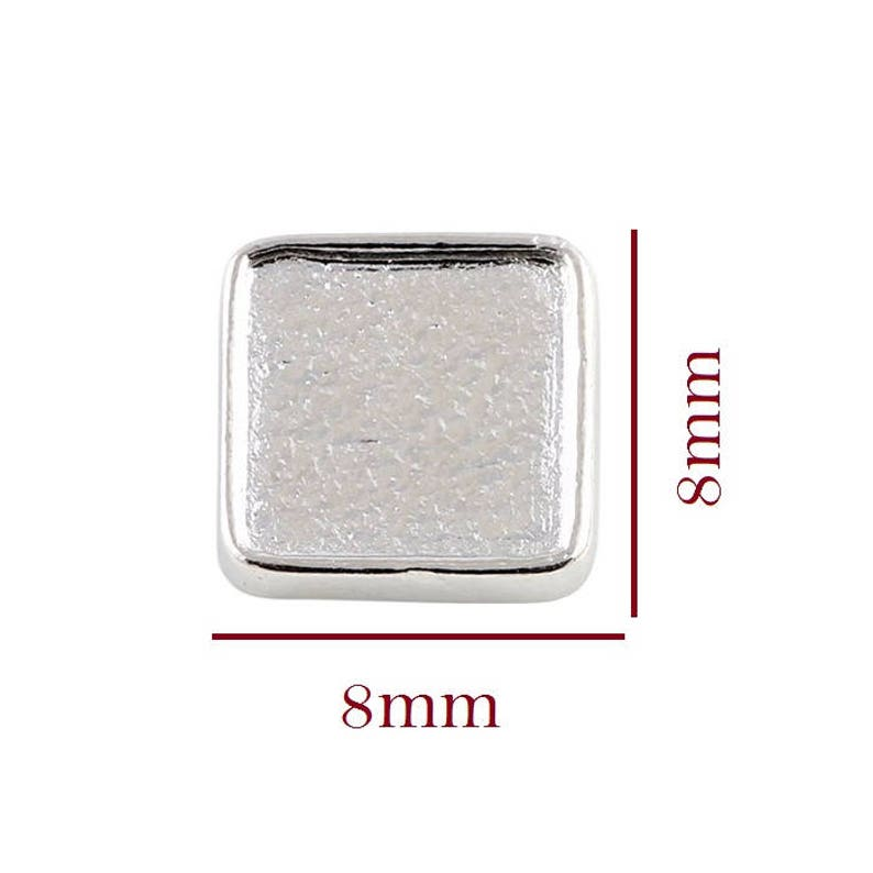8mm Exterior W7mm Blank Square Photo Blank Floating Charm