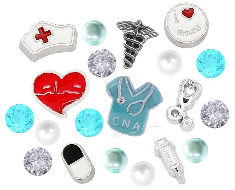 Caduceus CNA Scrubs Nurse Cap Floating Charms W Czech  \u00a0Crystals Medical Symbol