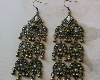 Vintage Style Filigree Chandelier Earrings, Bronze