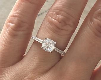 Beautiful Cushion Cut Engagement Ring Silver Wedding Ring Etsy
