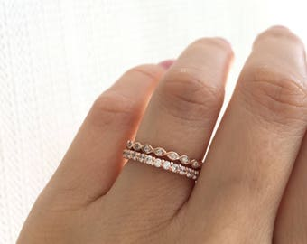 Wedding Bands. Rose Gold Stacking Rings. Eternity Ring And Swirl Ring Set. Fine Cz Ring Set. Rose Gold Wedding Bands.