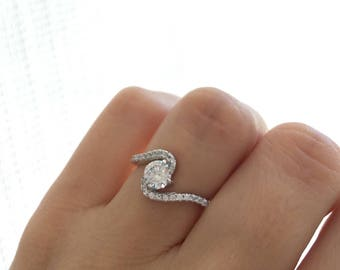 Sterling Silver Swirl Ring. Swirl Engagement Ring. Fine Quality Cz Promise Ring. Spiral Ring. Sterling Silver Rhodium Plated Wedding Ring.