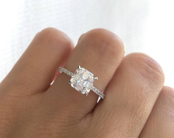 Sterling Silver Rhodium Plated Engagement Ring. Asscher Cut Engagement Ring. High Quality Wedding Ring. Promise Ring.