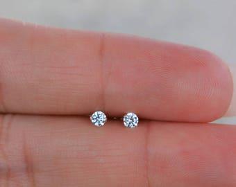 High Quality Cz Stud Earrings. Tiny Stud Earrings. Sterling Silver Nickel Free Dainty Earrings. Small Post Earrings. 2.5MM Stud Earrings.