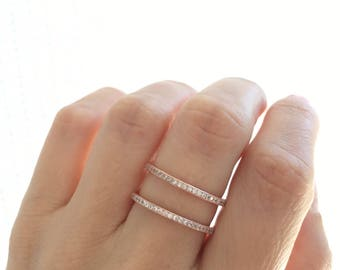 Double wedding bands etsy rose gold double band ring stackable ring wedding band sterling silver rose gold plated fine quality cz double band ring stacking bands junglespirit Images