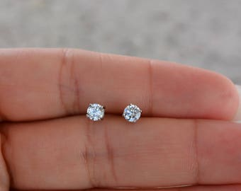 Sterling Silver Premium Quality Cz Stud Earrings. 4MM Round Cz Stud Earring.  Classic Round Cz Studs. Small Stud Earrings. c0a4fc746