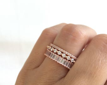 Rose Gold Wedding Bands Eternity Band Ring Fine Cz Stacking Rings Rose Gold Ring Set Sterling Silver Rose Gold Plated Wedding Bands