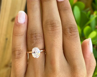 Solitaire Oval Wedding Engagement Ring 1.00CT Oval Shape Simulated Yellow CZ Solid 14K White Gold Dazzling Anniversary Bridal