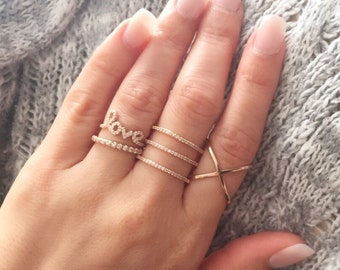 2e287d8a6 Set of four rings. Silver ring set. X ring. Triple band ring. Love ring.  Eternity band ring. Criss cross ring. Rose gold ring set.