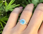 Aquamarine Ring. Sterling Silver Halo Aquamarine Ring. March Birthstone Ring. Gemstone Ring. Aquamarine Round Halo Ring. Sizes 4-12.
