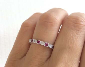 e9b67b8a616 Ruby Eternity Band. July Birthstone Ring. Ruby Antique Style Eternity Band.  Art Deco Ring. Ruby Simulant Sterling Silver Vintage Ring.