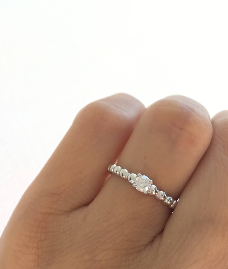 Sterling Silver Round Cut Halo Engagement Ring Promise Ring Dainty Ring
