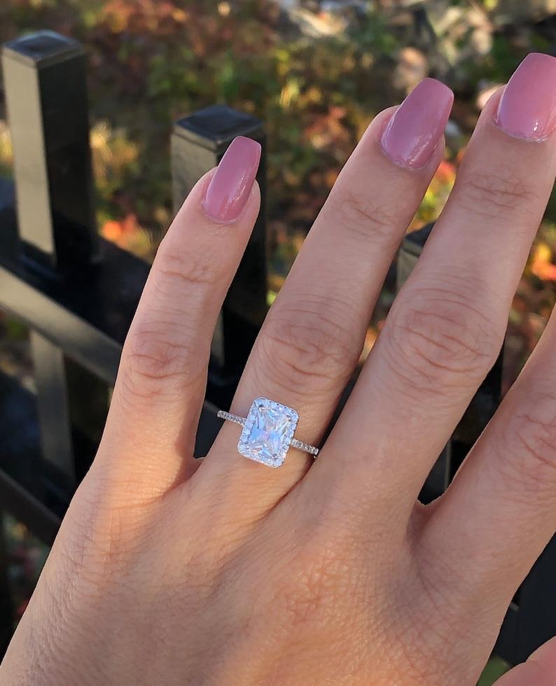 Beautiful Wedding Rings.Beautiful Radiant Cut Engagement Ring Halo Wedding Ring High Quality Wedding Ring Radiant Bridal Ring Silver Wedding Ring Size 5 10
