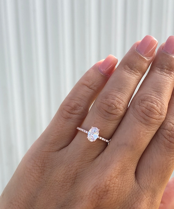 Rose Gold Wedding Ring.Oval Engagement Ring Rose Gold Engagement Ring Fine Quality Ring Rose Gold Wedding Ring Promise Ring Rose Gold Solitaire Ring