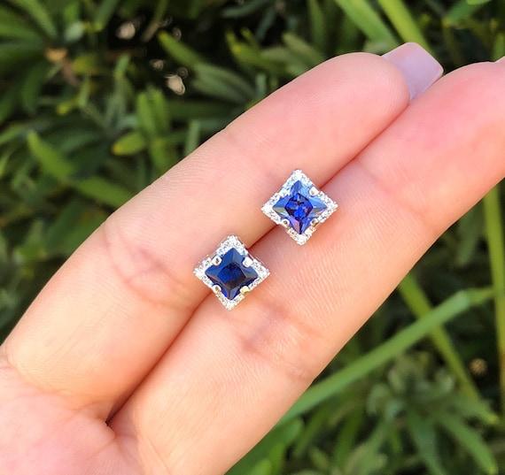 Homme ou Femme Saphirs Bleu Boucles D/'Oreilles Clous Argent Massif Semptembre