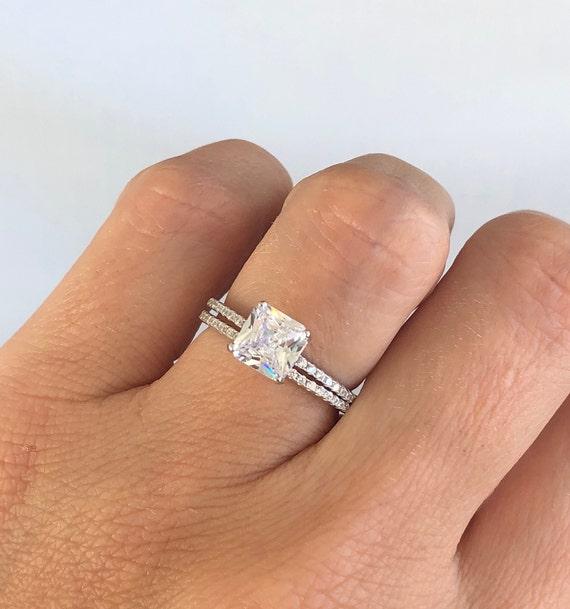 Wedding Ring Set Square Radiant Cut Engagement Ring Sterling Etsy