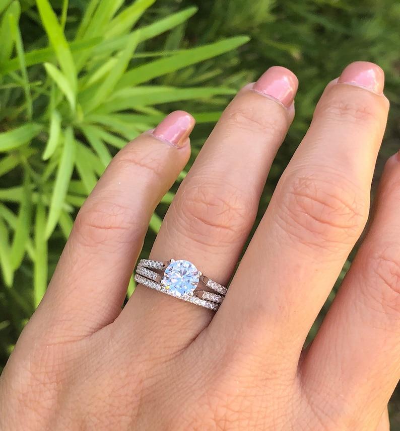Wedding Rings Sets.Split Shank Wedding Ring Set Sterling Silver Bridal Set Anniversary Ring Half Eternity Wedding Band Round Cut Wedding Ring Sizes 5 10