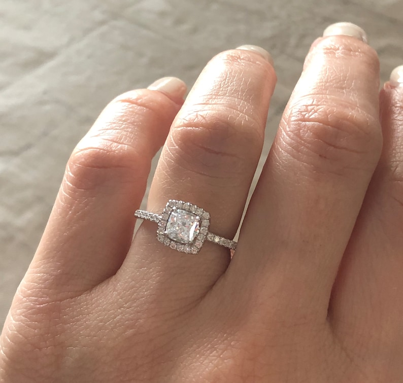 1 Carat Cushion Cut Ring Engagement Ring Sterling Silver Promise Ring Cushion Cut Wedding Ring Square Halo Ring Anniversary Ring