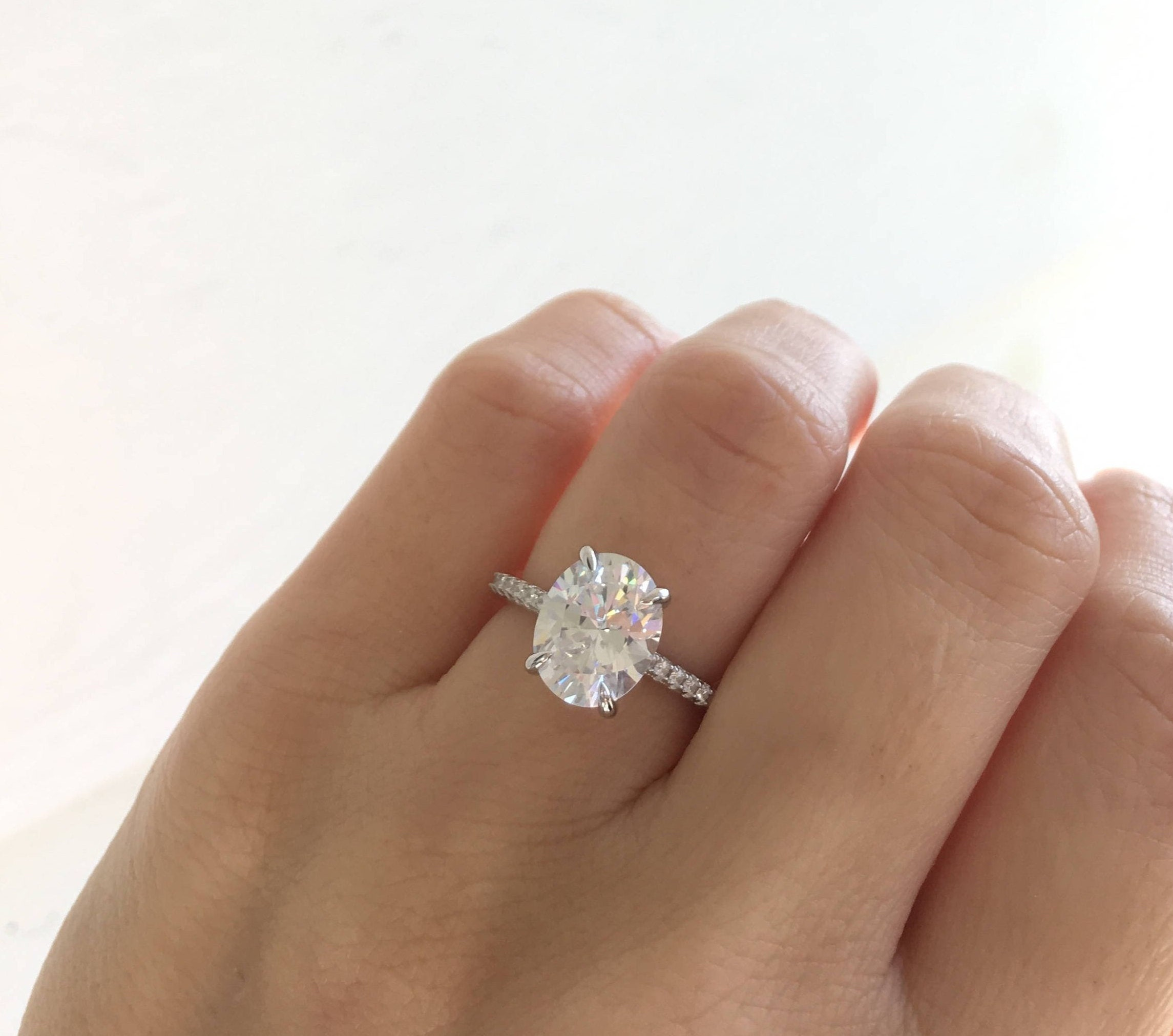 Oval Cut Engagement Ring. Sterling Silver Half Eternity