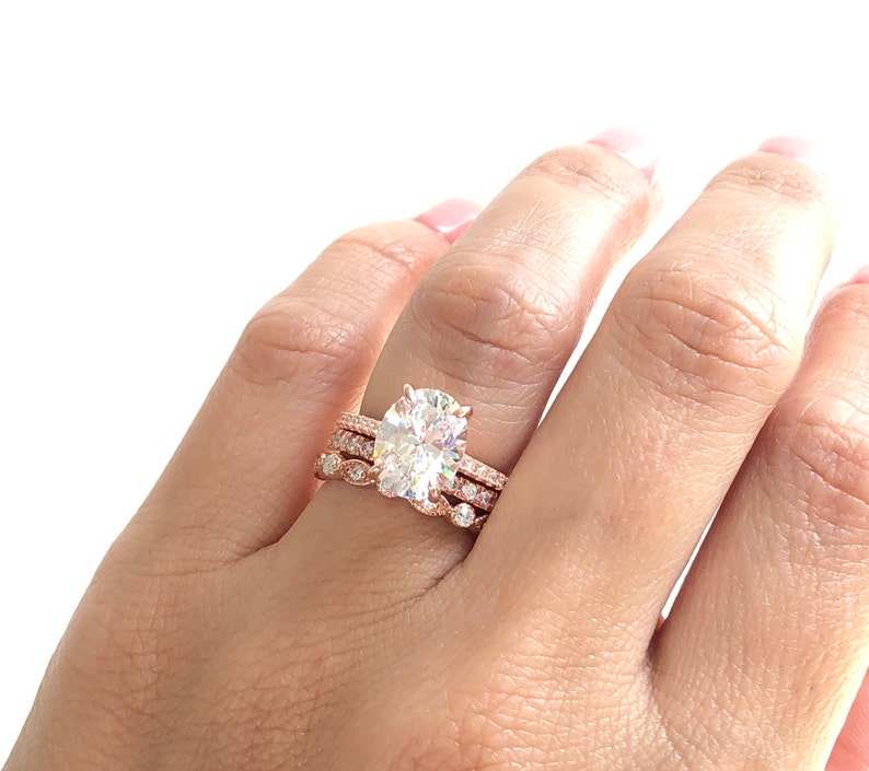 Rose Gold Wedding Ring.Wedding Ring Set Rose Gold Oval Engagement Ring Set Stacking Rings Rose Gold Wedding Rings Anniversary Rings Rose Gold Rings