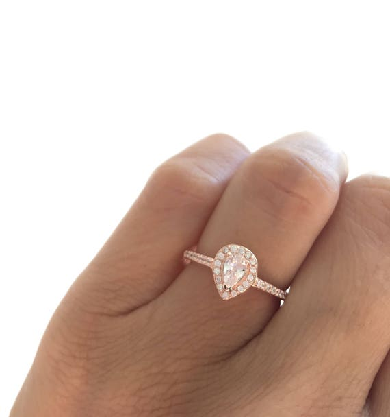 Pear Shaped Rose Gold Ring Teardrop Ring Mini Solitaire Etsy