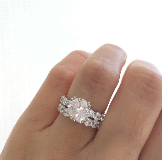 Wedding Ring Set Fine Quality Round Cut Solitaire Ring Etsy