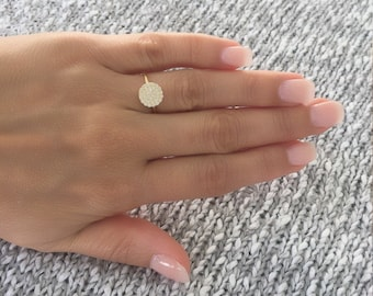 Disc ring. Cz pave silver disc ring. Stackable disc ring. Cz gold disc ring. Cz rose gold stackable pave disc ring. Stackable heart rings.