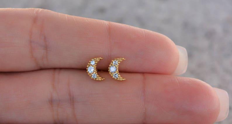 5cd8434f981dc Sterling silver mini moon stud earrings. Dainty moon stud earrings. Gold cz  moon earrings. Rose gold cz moon earrings. Silver stud earrings.