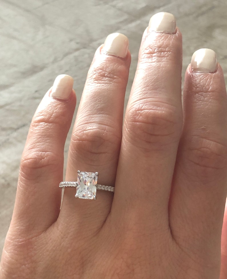 1 5 Carat Radiant Cut Engagement Ring Radiant Engagement Ring Anniversary Ring Sterling Silver Radiant Cut Wedding Ring Promise Ring