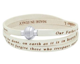 Genuine leather wrap bracelet. White lord's prayer wrap leather bracelet in Spanish. Brazalete del padre nuestro en espanol.