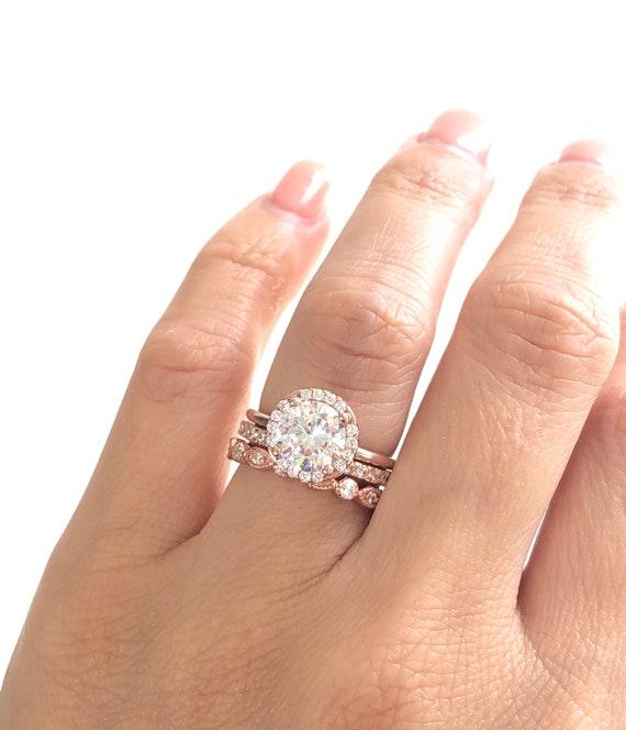 Rose Gold Wedding Ring Set | Rose Gold Wedding Ring Set Round Cut Engagement Ring With 2mm Etsy