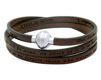 Authentic leather inspirational brown wrap bracelet. Brazalete carmelita con oracion del padre nuestro. Lord's prayer wrap bracelet.