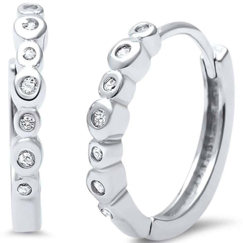 59fbf4993 Small Hoop Earrings. Sterling Silver 17mm Hoop Earrings With | Etsy