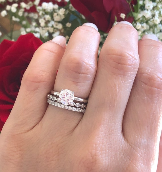 Bridal Ring Set Sterling Silver Wedding Ring Set Round Cut Etsy