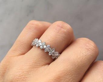 Sterling Silver Flower Ring. Unique Design Flower Ring. Eternity Ring. Flower Band Ring. Stacking Ring. Silver Stackable Band. Silver Ring.