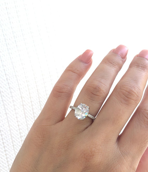 Engagement Ring 3 25 Ctw Oval Engagement Ring Sterling Etsy