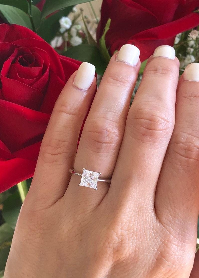 f0d26e5e5ac 1.5 ct Princess Cut Engagement Ring. Promise Ring. Solitaire Ring. Luxury  Engagement Ring. Princess Cut Solitaire Engagement Ring.