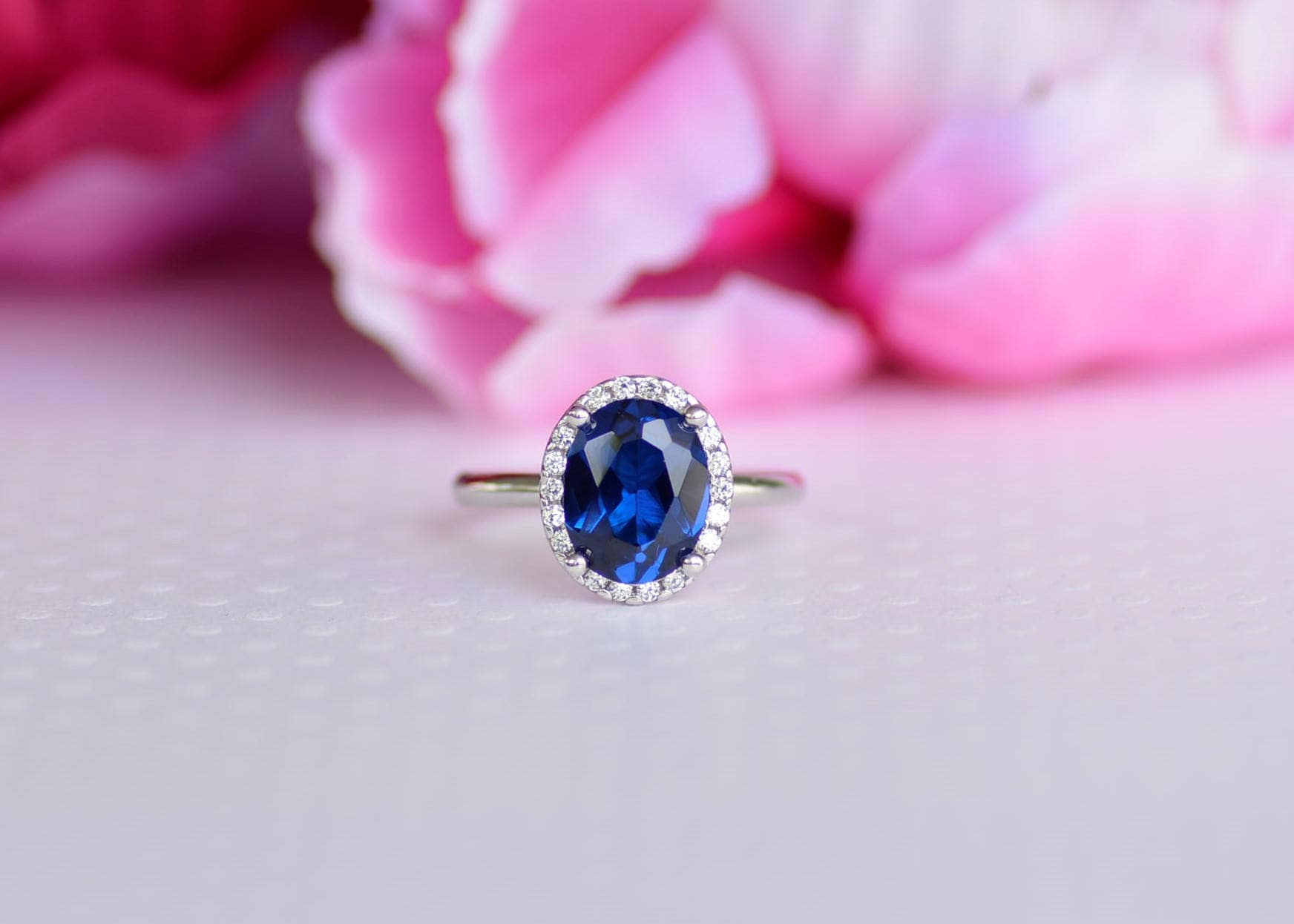 Sterling Silver Blue Oval Cz Ring. Solitaire Ring. Engagement | Etsy