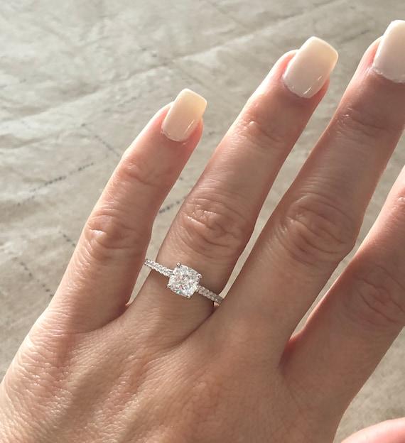 1 Carat Cushion Cut Engagement Ring Beautiful High Quality Cz Etsy