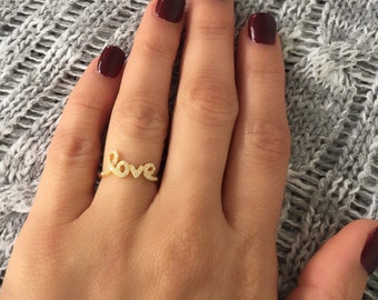 Love ring. Solid silver love ring. Gold love ring. Rose gold love ring. Cursive love ring. Love rings. Cursive love word ring. Silver rings.