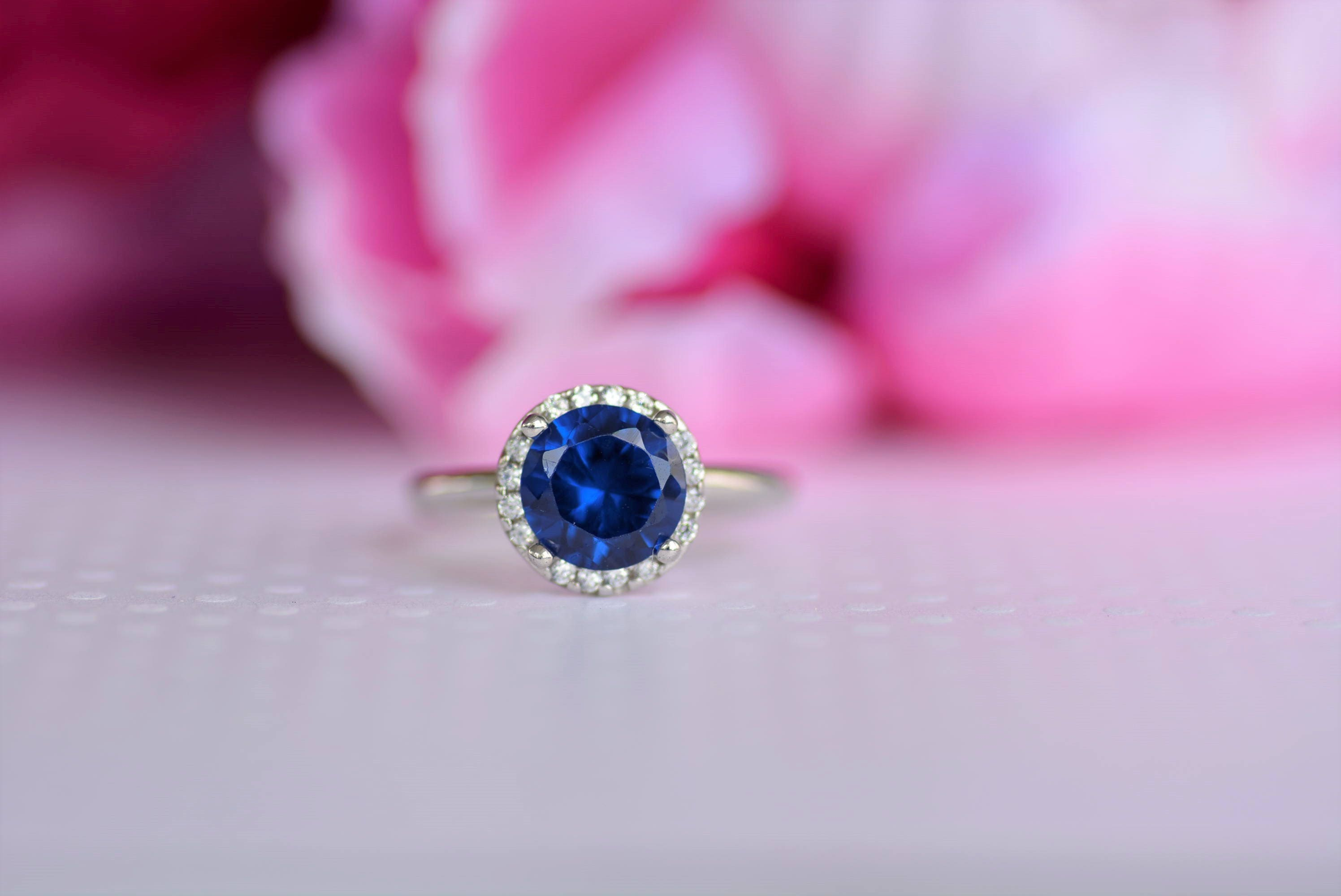 Sterling Silver Blue Sapphire Cz Ring. September Birthstone | Etsy