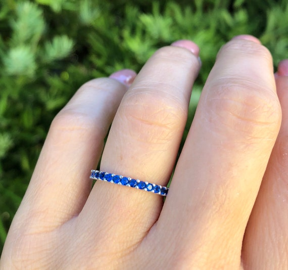 Blue Sapphire Ultra Thin 1.2mm Half Eternity Band September Birthstone Stacking Band