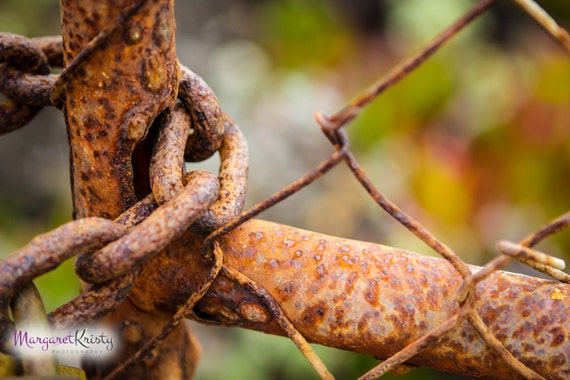 Rusted Chain Link Fence Old Antique Vintage Rust Photography Etsy