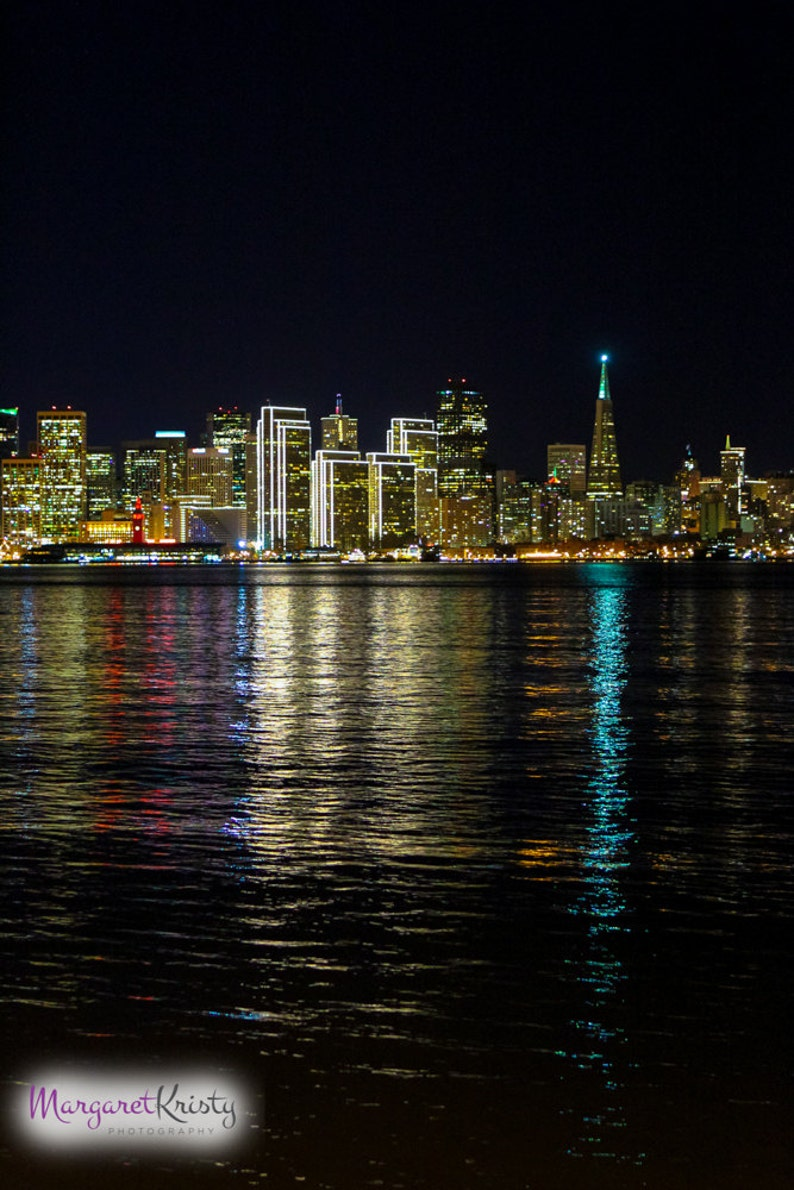 San Francisco Skyline at Night   California lights city water image 0