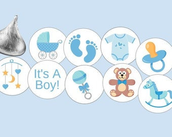 It/'s A Girl It/'s A Boy Kisses Blue Pink 108 Baby Feet Labels Favors