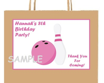 18 Personalized Bowling Party stickers,Birthday,favors,bag box labels,tags,party supplies,girl,Custom Made
