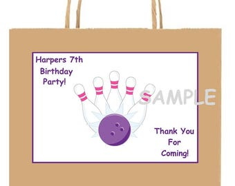 18 Personalized Bowling Party stickers,favors,birthday,bag box labels,tags,thank you,loot goody treat,Supplies,girls, Custom Made