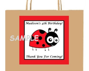 18 Personalized Ladybug party stickers,Birthday,bag box labels, shower,tags,favors,lady bug,insects,party supplies,Custom Made.
