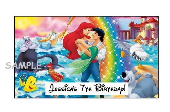 12 Personalized Mermaid Birthday Party Stickers